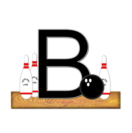 typographiy: The letter B, in the alphabet set Bowling, is black with white border.  Bowling ball and pins sit on wooden lane with letter.