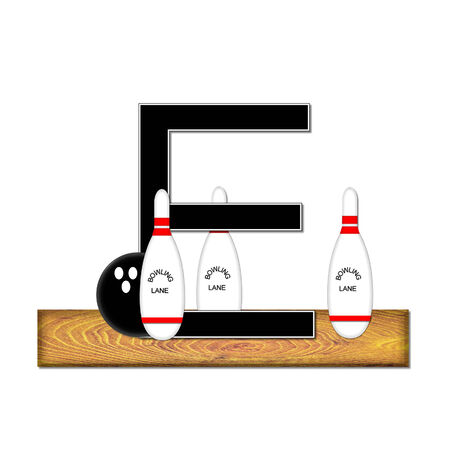 The letter E, in the alphabet set Bowling, is black with white border.  Bowling ball and pins sit on wooden lane with letter. photo