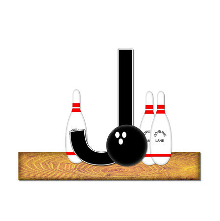 typographiy: The letter J, in the alphabet set Bowling, is black with white border.  Bowling ball and pins sit on wooden lane with letter. Stock Photo