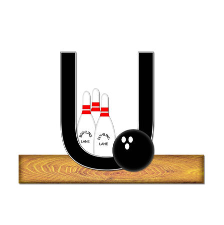 typographiy: The letter U, in the alphabet set Bowling, is black with white border.  Bowling ball and pins sit on wooden lane with letter.