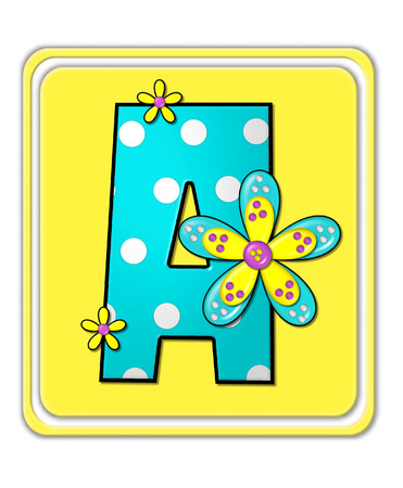 bright: The letter A, in the alphabet set Bright Begonia, is teal with white polka dots.  2D flowers decorate letter in yellow, pink and teal.  Letter sits on bright yellow square.