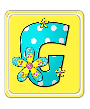 bright: The letter G, in the alphabet set Bright Begonia, is teal with white polka dots.  2D flowers decorate letter in yellow, pink and teal.  Letter sits on bright yellow square.