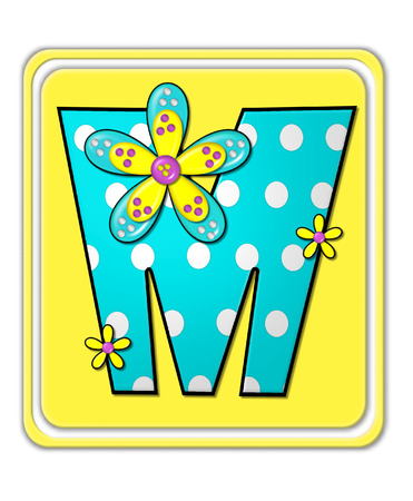 bright: The letter M, in the alphabet set Bright Begonia, is teal with white polka dots.  2D flowers decorate letter in yellow, pink and teal.  Letter sits on bright yellow square.
