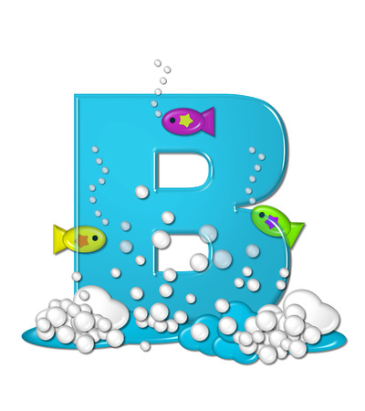 has: The letter B, in the alphabet set Bubbly Fish, is bright aqua and has bubbles and wave action at bottom of letter.  Transparent layer allows colorfor fish to swim in and out of letter. Stock Photo