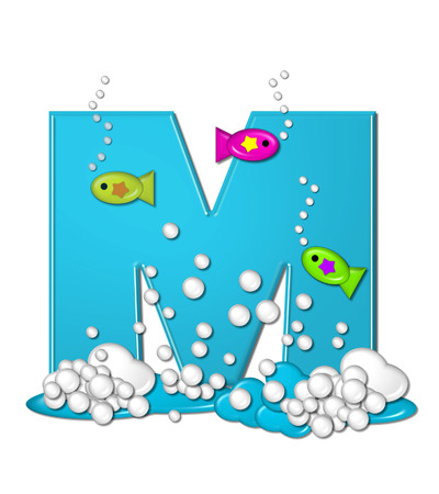 The letter M, in the alphabet set Bubbly Fish, is bright aqua and has bubbles and wave action at bottom of letter.  Transparent layer allows colorfor fish to swim in and out of letter. photo
