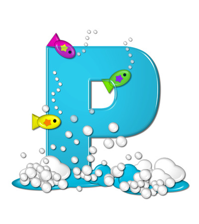 fish type: The letter P, in the alphabet set Bubbly Fish, is bright aqua and has bubbles and wave action at bottom of letter.  Transparent layer allows colorfor fish to swim in and out of letter.