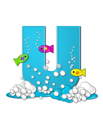 bubbly: The letter U, in the alphabet set Bubbly Fish, is bright aqua and has bubbles and wave action at bottom of letter.  Transparent layer allows colorfor fish to swim in and out of letter. Stock Photo