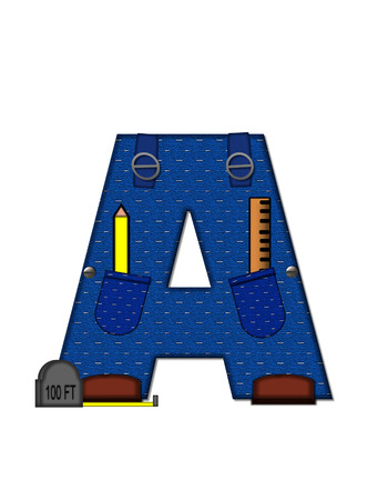 The letter A, in the alphabet set 'Carpenter Tools', is denim with tool pocket.  Brown, construction boots sit at base of letter.  Various tools decorate letter. photo