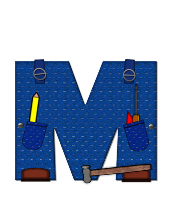 The letter M, in the alphabet set Carpenter Tools, is denim with tool pocket.  Brown, construction boots sit at base of letter.  Various tools decorate letter.