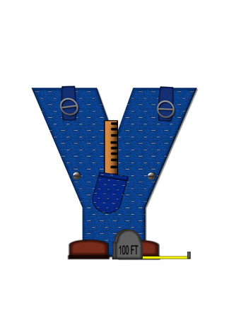 The letter Y, in the alphabet set Carpenter Tools, is denim with tool pocket.  Brown, construction boots sit at base of letter.  Various tools decorate letter. photo