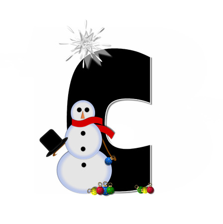 letter c: The letter C, in the alphabet set Frosty, is black and decorated with a snowman and Christmas ornaments.  Snowman is wearing a red scarf and alphabet letter is topped with a glowing white star.