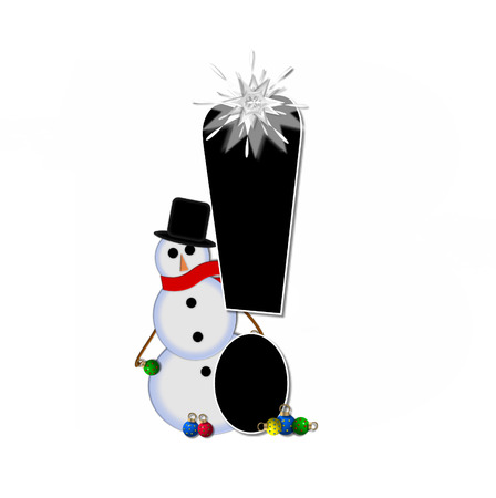 topped: Exclamation point, in the alphabet set Frosty, is black and decorated with a snowman and Christmas ornaments.  Snowman is wearing a red scarf and alphabet letter is topped with a glowing white star.