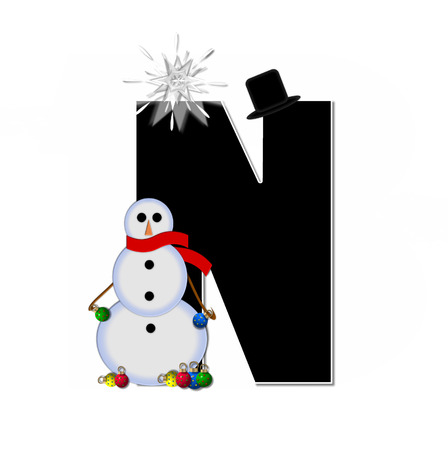 typographiy: The letter N, in the alphabet set Frosty, is black and decorated with a snowman and Christmas ornaments.  Snowman is wearing a red scarf and alphabet letter is topped with a glowing white star. Stock Photo