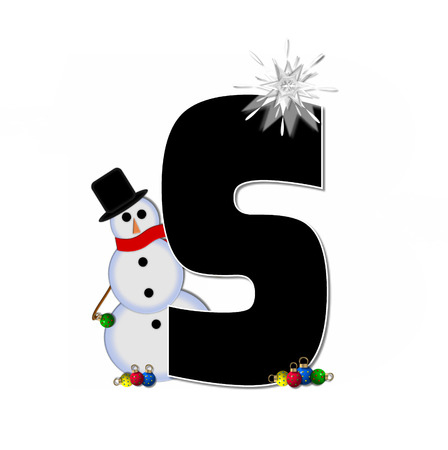 typographiy: The letter S, in the alphabet set Frosty, is black and decorated with a snowman and Christmas ornaments.  Snowman is wearing a red scarf and alphabet letter is topped with a glowing white star. Stock Photo