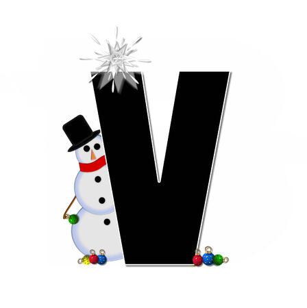 typographiy: The letter V, in the alphabet set Frosty, is black and decorated with a snowman and Christmas ornaments.  Snowman is wearing a red scarf and alphabet letter is topped with a glowing white star.
