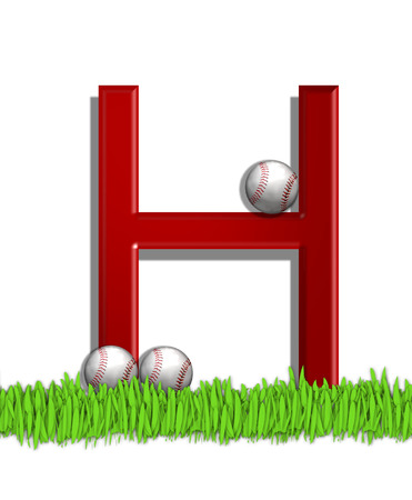 The letter H, in the alphabet set Baseball, is red.  Three baseballs decorate 3D letter.  All sit in a field of green grass. photo