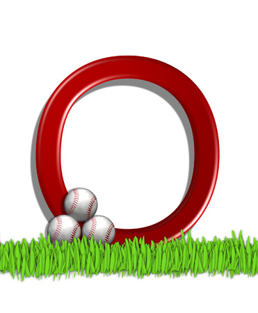 outfield: The letter O, in the alphabet set Baseball, is red.  Three baseballs decorate 3D letter.  All sit in a field of green grass.