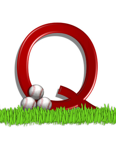 athletic type: The letter Q, in the alphabet set Baseball, is red.  Three baseballs decorate 3D letter.  All sit in a field of green grass. Stock Photo