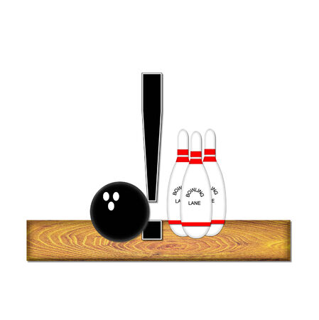 typographiy: Exclamation point , in the alphabet set Bowling, is black with white border.  Bowling ball and pins sit on wooden lane with letter.