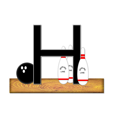typographiy: The letter H, in the alphabet set Bowling, is black with white border.  Bowling ball and pins sit on wooden lane with letter.