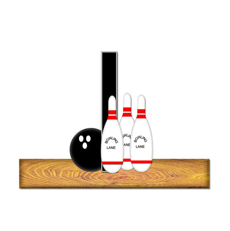 typographiy: The letter I, in the alphabet set Bowling, is black with white border.  Bowling ball and pins sit on wooden lane with letter.