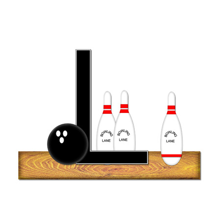 The letter L, in the alphabet set Bowling, is black with white border.  Bowling ball and pins sit on wooden lane with letter. photo