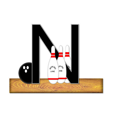 The letter N, in the alphabet set Bowling, is black with white border.  Bowling ball and pins sit on wooden lane with letter. photo
