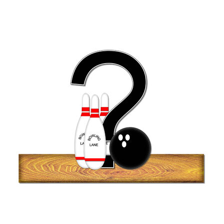 typographiy: Question mark, in the alphabet set Bowling, is black with white border.  Bowling ball and pins sit on wooden lane with letter.