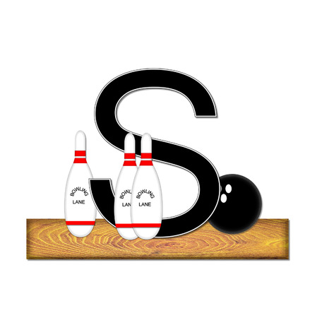 typographiy: The letter S, in the alphabet set Bowling, is black with white border.  Bowling ball and pins sit on wooden lane with letter.