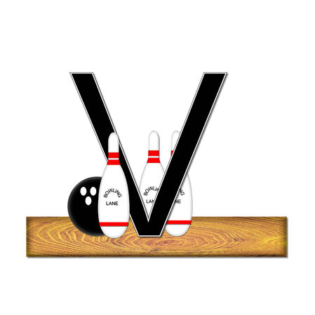 typographiy: The letter V, in the alphabet set Bowling, is black with white border.  Bowling ball and pins sit on wooden lane with letter.