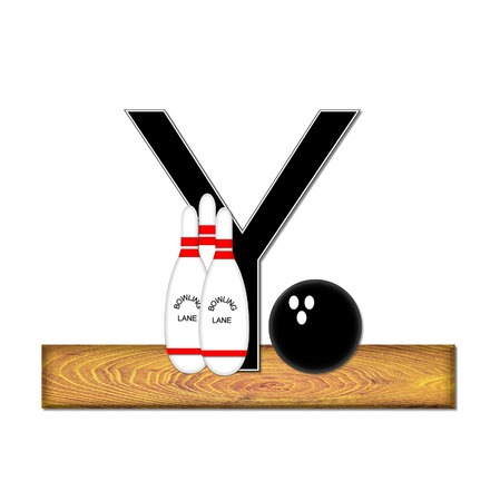 The letter Y, in the alphabet set Bowling, is black with white border.  Bowling ball and pins sit on wooden lane with letter. photo