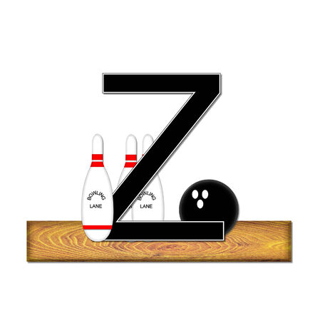 typographiy: The letter Z, in the alphabet set Bowling, is black with white border.  Bowling ball and pins sit on wooden lane with letter.