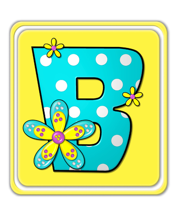 bright: The letter B, in the alphabet set Bright Begonia, is teal with white polka dots.  2D flowers decorate letter in yellow, pink and teal.  Letter sits on bright yellow square.