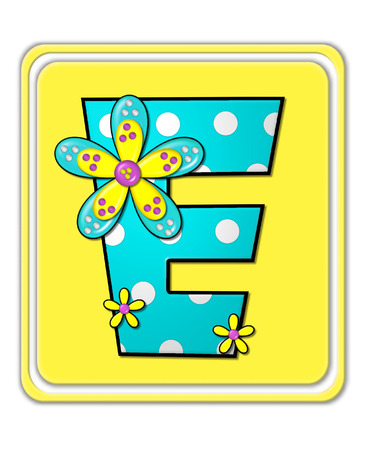 bright: The letter E, in the alphabet set Bright Begonia, is teal with white polka dots.  2D flowers decorate letter in yellow, pink and teal.  Letter sits on bright yellow square.