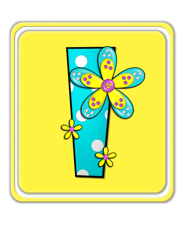 bright: The letter I, in the alphabet set Bright Begonia, is teal with white polka dots.  2D flowers decorate letter in yellow, pink and teal.  Letter sits on bright yellow square.