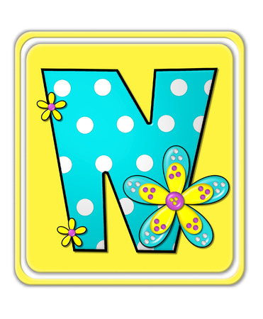 bright: The letter N, in the alphabet set Bright Begonia, is teal with white polka dots.  2D flowers decorate letter in yellow, pink and teal.  Letter sits on bright yellow square.