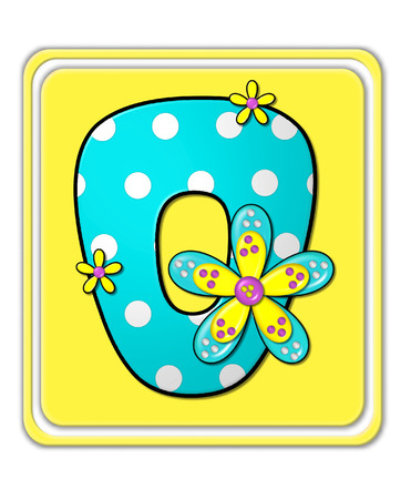 bright: The letter O, in the alphabet set Bright Begonia, is teal with white polka dots.  2D flowers decorate letter in yellow, pink and teal.  Letter sits on bright yellow square.
