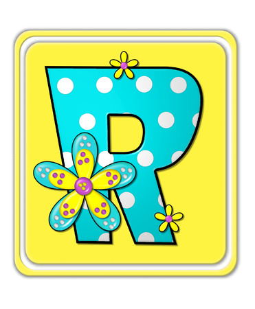 bright: The letter R, in the alphabet set Bright Begonia, is teal with white polka dots.  2D flowers decorate letter in yellow, pink and teal.  Letter sits on bright yellow square.