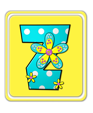 bright: The letter Z, in the alphabet set Bright Begonia, is teal with white polka dots.  2D flowers decorate letter in yellow, pink and teal.  Letter sits on bright yellow square.