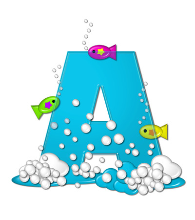 The letter A, in the alphabet set Bubbly Fish, is bright aqua and has bubbles and wave action at bottom of letter.  Transparent layer allows colorfor fish to swim in and out of letter. photo