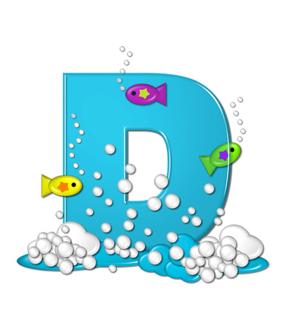 The letter D, in the alphabet set Bubbly Fish, is bright aqua and has bubbles and wave action at bottom of letter.  Transparent layer allows colorfor fish to swim in and out of letter. Stock Photo