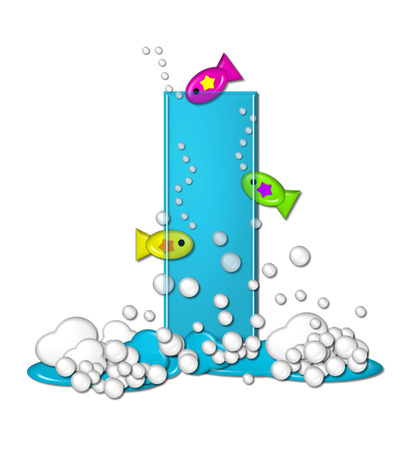 The letter I, in the alphabet set Bubbly Fish, is bright aqua and has bubbles and wave action at bottom of letter.  Transparent layer allows colorfor fish to swim in and out of letter. Stock Photo
