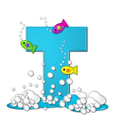 The letter T, in the alphabet set Bubbly Fish, is bright aqua and has bubbles and wave action at bottom of letter.  Transparent layer allows colorfor fish to swim in and out of letter.
