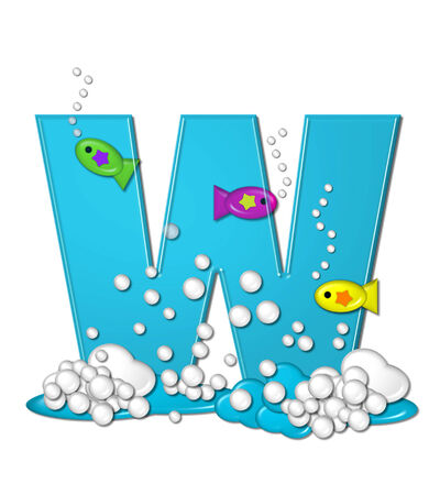The letter W, in the alphabet set Bubbly Fish, is bright aqua and has bubbles and wave action at bottom of letter.  Transparent layer allows colorfor fish to swim in and out of letter. photo
