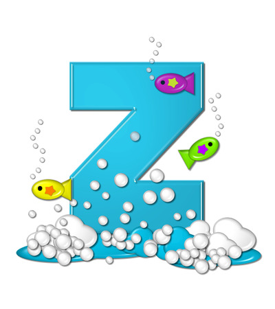 The letter Z, in the alphabet set Bubbly Fish, is bright aqua and has bubbles and wave action at bottom of letter.  Transparent layer allows colorfor fish to swim in and out of letter. photo