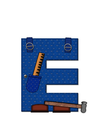 The letter E, in the alphabet set 'Carpenter Tools', is denim with tool pocket.  Brown, construction boots sit at base of letter.  Various tools decorate letter. photo