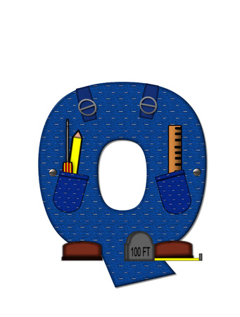The letter Q, in the alphabet set 'Carpenter Tools', is denim with tool pocket.  Brown, construction boots sit at base of letter.  Various tools decorate letter. photo