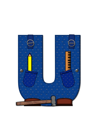 The letter U, in the alphabet set 'Carpenter Tools', is denim with tool pocket.  Brown, construction boots sit at base of letter.  Various tools decorate letter. photo