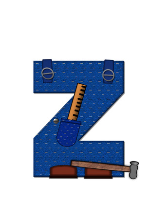 The letter Z, in the alphabet set 'Carpenter Tools', is denim with tool pocket.  Brown, construction boots sit at base of letter.  Various tools decorate letter. photo