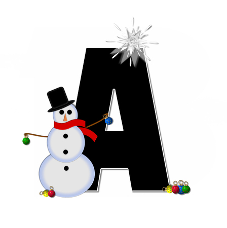 The letter A, in the alphabet set Frosty, is black and decorated with a snowman and Christmas ornaments.  Snowman is wearing a red scarf and alphabet letter is topped with a glowing white star. photo